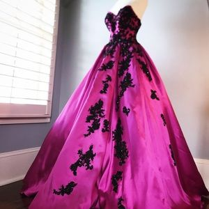 Princess Gown with Black Lace and Rhinestones